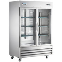 Avantco SS-2R-G-HC 54 inch Stainless Steel Glass Door Reach-In Refrigerator