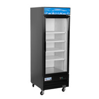 Avantco GDC-23-HC 28 3/8 inch Black Swing Glass Door Merchandiser Refrigerator with LED Lighting
