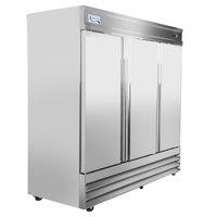 Avantco SS-3R-HC 81 inch Stainless Steel Solid Door Reach-In Refrigerator