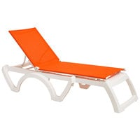 Grosfillex US476019 Calypso White / Orange Stacking Adjustable Resin Sling Chaise - 12/Case