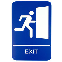 ADA Exit Sign with Braille - Blue and White, 9 inch x 6 inch
