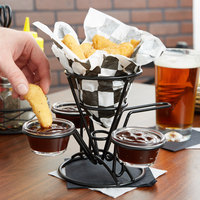Clipper Mill by GET 4-362803 5 inch x 7 inch Black Wire Cone Basket with 3 Ramekin Holders