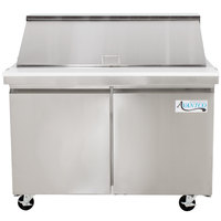 Avantco SS-PT-48M 48 inch 2 Door Mega Top Stainless Steel Refrigerated Sandwich Prep Table