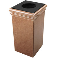Commercial Zone 722121 StoneTec 30 Gallon Sedona Square Trash Receptacle with Lid