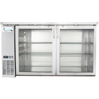 Avantco UBB-60G-HC-S 60 inch Stainless Steel Counter Height Narrow Glass Door Back Bar Refrigerator with LED Lighting