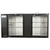 Avantco UBB-3G-HC 69 inch Black Glass Door Undercounter Back Bar Refrigerator with LED Lighting