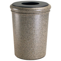 Commercial Zone 720920 StoneTec 50 Gallon Riverstone Round Stone Trash Receptacle with Lid
