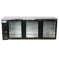 Avantco UBB-4G-HC 90 inch Black Glass Door Undercounter Back Bar Refrigerator with LED Lighting