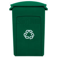 Rubbermaid Slim Jim 23 Gallon Green Wall Hugger Recycling Container with Green 2 Hole Lid