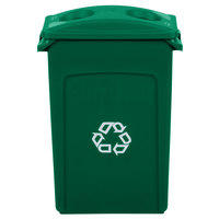 Rubbermaid Slim Jim 92 Qt. / 23 Gallon Green Recycling Container with Green 2 Hole Lid