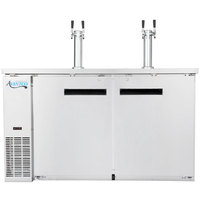 Avantco UDD-60-HC S/S Stainless Steel Kegerator / Beer Dispenser with (2) Double Tap Towers - (2) 1/2 Keg Capacity