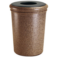 Commercial Zone 720921 StoneTec 50 Gallon Sedona Round Stone Trash Receptacle with Lid