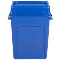 Rubbermaid Slim Jim 16 Gallon Blue Trash Can with Blue Swing Lid