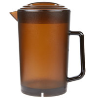 GET P-3064-1-A 64 oz. Amber SAN Textured Pitcher with Lid