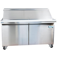 Avantco SS-PT-60M 60 inch 2 Door Mega Top Stainless Steel Refrigerated Sandwich Prep Table