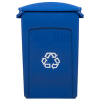 Rubbermaid Slim Jim 23 Gallon Blue Wall Hugger Recycling Container with Blue 2 Hole Lid