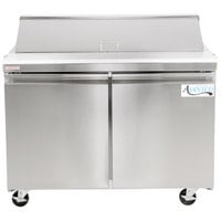 Avantco SS-PT-48 48 inch 2 Door Stainless Steel Refrigerated Sandwich Prep Table
