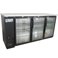 Avantco UBB-72G-HC 73 inch Black Counter Height Narrow Glass Door Back Bar Refrigerator with LED Lighting