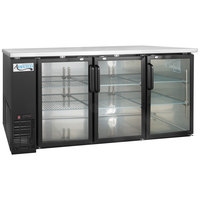Avantco UBB-72G-HC 73 inch Black Counter Height Narrow Glass Door Back Bar Refrigerator with LED Lighting