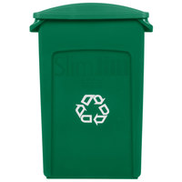 Rubbermaid Slim Jim 23 Gallon Green Wall Hugger Recycling Container with Green Slotted Lid