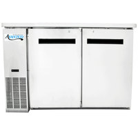 Avantco UBB-48-HC-S 48 inch Stainless Steel Narrow Solid Door Undercounter Back Bar Refrigerator with LED Lighting