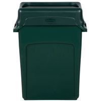 Rubbermaid Slim Jim 16 Gallon Green Wall Hugger Trash Can with Green Swing Lid