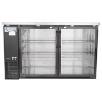 Avantco UBB-2G-HC 59 inch Black Glass Door Undercounter Back Bar Refrigerator with LED Lighting