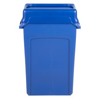 Rubbermaid Slim Jim 23 Gallon Blue Wall Hugger Trash Can with Blue Swing Lid