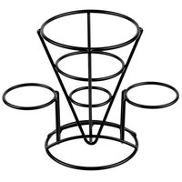 GET 4-361742 5 inch x 7 inch Black Wire Cone Basket with 2 Ramekin Holders
