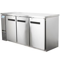 Avantco UBB-72-HC-S 73 inch Stainless Steel Counter Height Narrow Solid Door Back Bar Refrigerator with LED Lighting