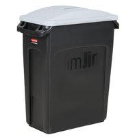 Rubbermaid Slim Jim 64 Qt. / 16 Gallon Black Trash Can with Light Gray Handled Lid