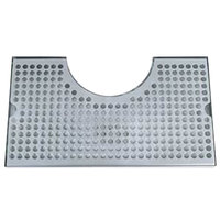 Micro Matic DP-1020D 8 inch x 14 inch Stainless Steel Surface Mount Drip Tray with 4 inch Column Cutout and Drain
