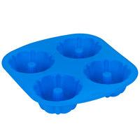 Wilton 2105-4827 Easy-Flex Blue Silicone 4 Compartment Fluted Bundt Mini Cake / Dessert Mold - 4 inch x 2 inch Cavities