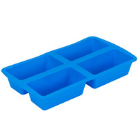 Wilton 2105-4826 Easy-Flex Blue Silicone 4 Compartment Mini Loaf / Dessert Mold - 5 1/2 inch x 2 7/8 inch x 2 inch Cavities