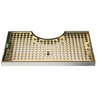 Micro Matic DP-1020DSSPVD 8 inch x 14 inch PVD Brass Surface Mount Drip Tray with 4 inch Column Cutout and Drain