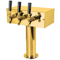 Micro Matic D7743PVDKR PVD Brass Kool-Rite Glycol Cooled 3 Tap T Style Tower - 3 inch Column
