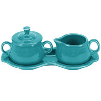 Homer Laughlin 821107 Fiesta Turquoise Sugar and Cream Tray Set - 4/Case