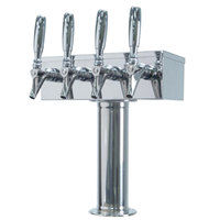 Micro Matic D7744PSSKR Stainless Steel Kool-Rite Glycol Cooled 4 Tap T Style Tower - 3 inch Column