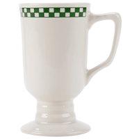 Homer Laughlin 1201708 Green Checkers 9 oz. Ivory (American White) Irish Coffee Mug - 36/Case