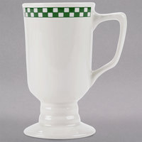 Homer Laughlin 1201708 Green Checkers 9 oz. Ivory (American White) Irish Coffee Mug - 36/Case