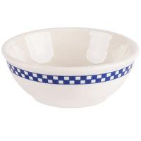 Homer Laughlin 5971790 Cobalt Checkers 19 oz. Ivory (American White) Nappy Bowl - 12/Case