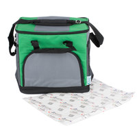 Choice Insulated Leak Proof Cooler Bag / Soft Cooler, Green 12 inch x 9 inch x 11 1/2 inch 24 Can, with Microcore Thermal Hot or Cold Pack Kit