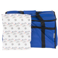Choice 23 inch x 13 inch x 15 inch Blue Insulated Vinyl Food Pan Carrier with Microcore Thermal Hot or Cold Packs Kit