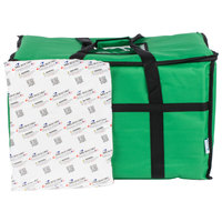 Choice 23 inch x 13 inch x 15 inch Green Insulated Nylon Food Delivery Bag / Pan Carrier with Microcore Thermal Hot or Cold Pack Kit