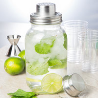 Tablecraft MJS30 30 oz. Glass 3-Piece Mason Jar Cocktail Shaker