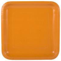 Creative Converting 323388 9 inch Pumpkin Spice Orange Square Paper Plate - 18/Pack