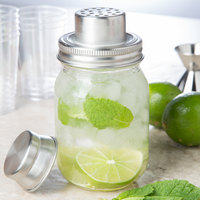Tablecraft MJS14 14 oz. Glass 3-Piece Mason Jar Cocktail Shaker
