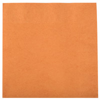 Creative Converting 323385 Pumpkin Spice Orange 3-Ply 1/4 Fold Luncheon Napkin - 50/Pack