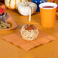 Creative Converting 323385 Pumpkin Spice Orange 3-Ply 1/4 Fold Luncheon Napkin - 50/Pack