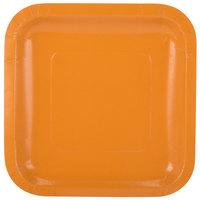 Creative Converting 323392 7 inch Pumpkin Spice Orange Square Paper Plate - 18/Pack
